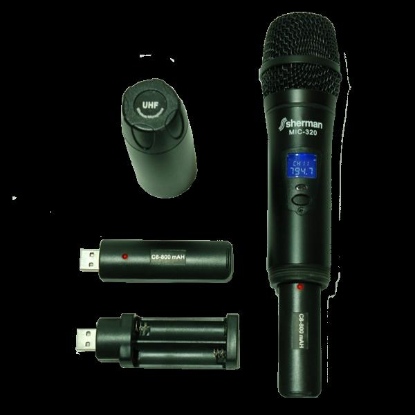 Двоен UHF микрофон SHERMAN MIC320 с литиево-йонни батерии